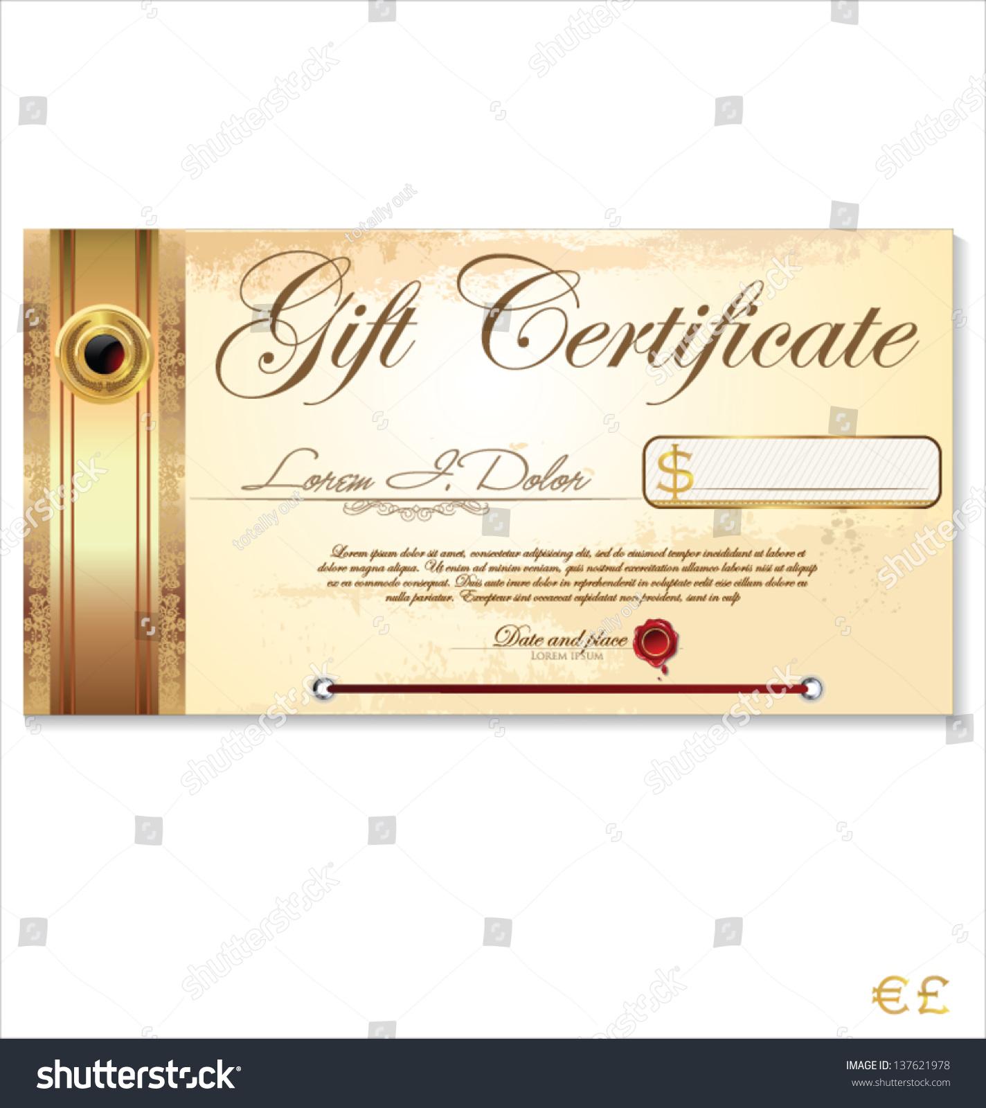 Luxury Gift Certificate Template Stock Vector (2018) 137621978 ...
