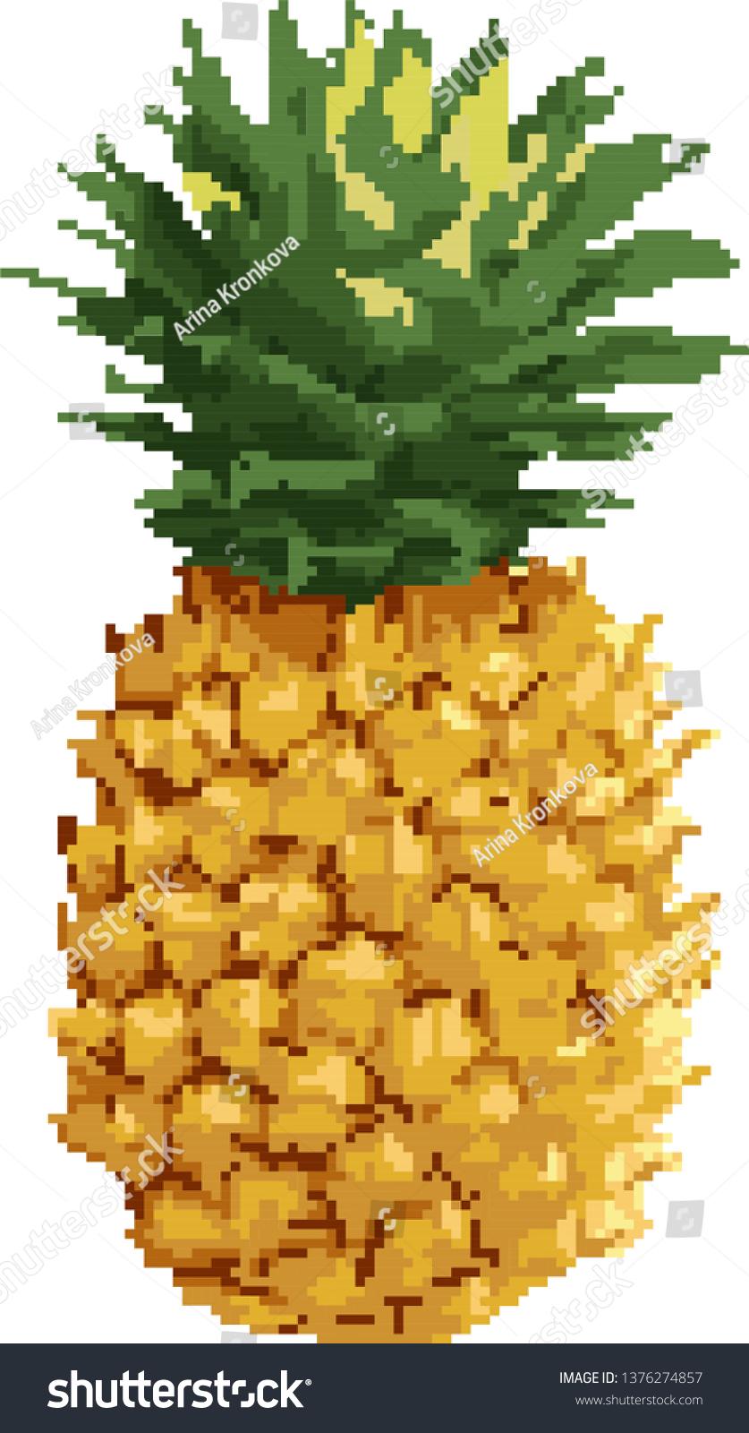 Pineaplle Exotic Fruit Pixel Art Flat Stock Vector Royalty