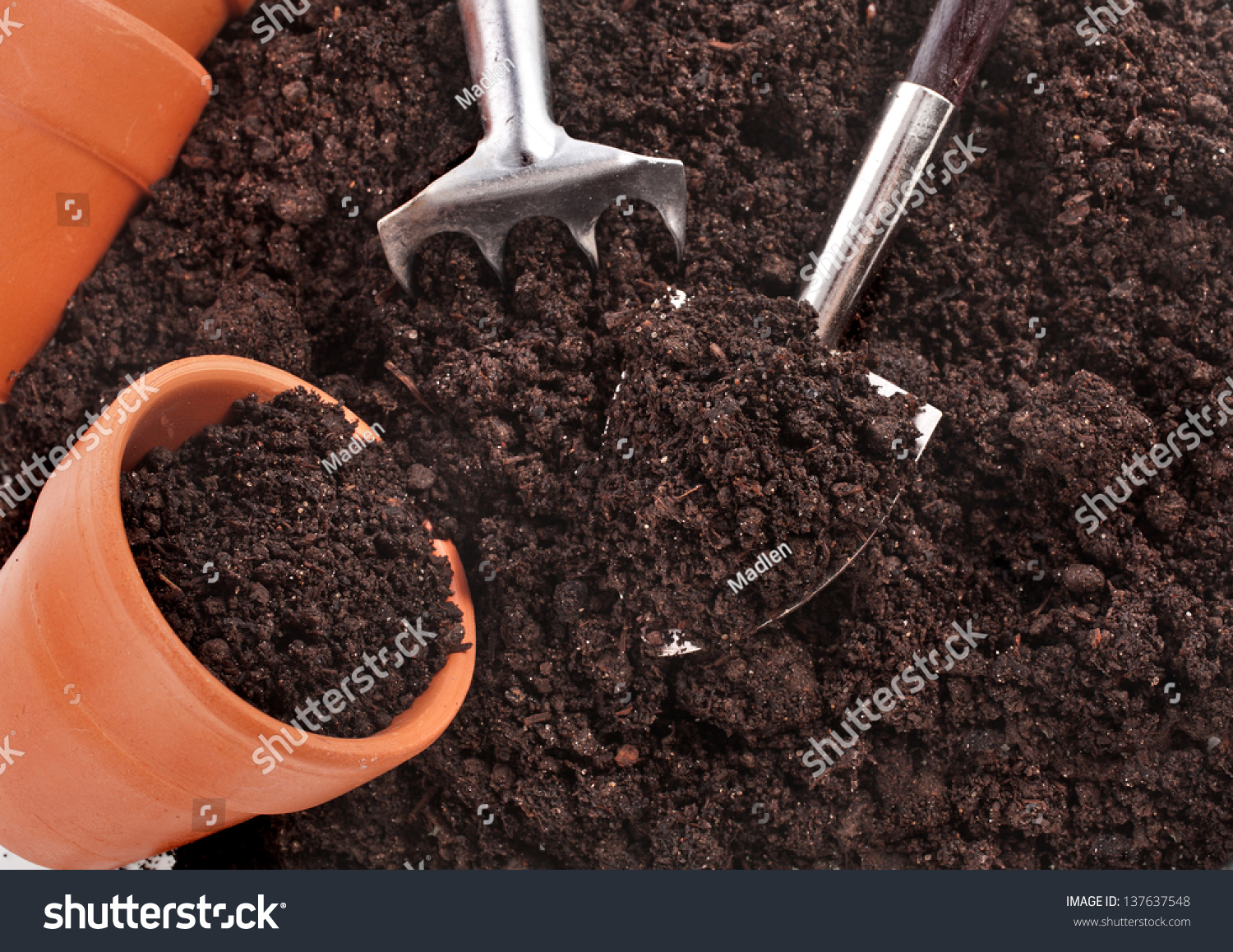 Gardening tools seedling soil surface background stock for Soil utensils