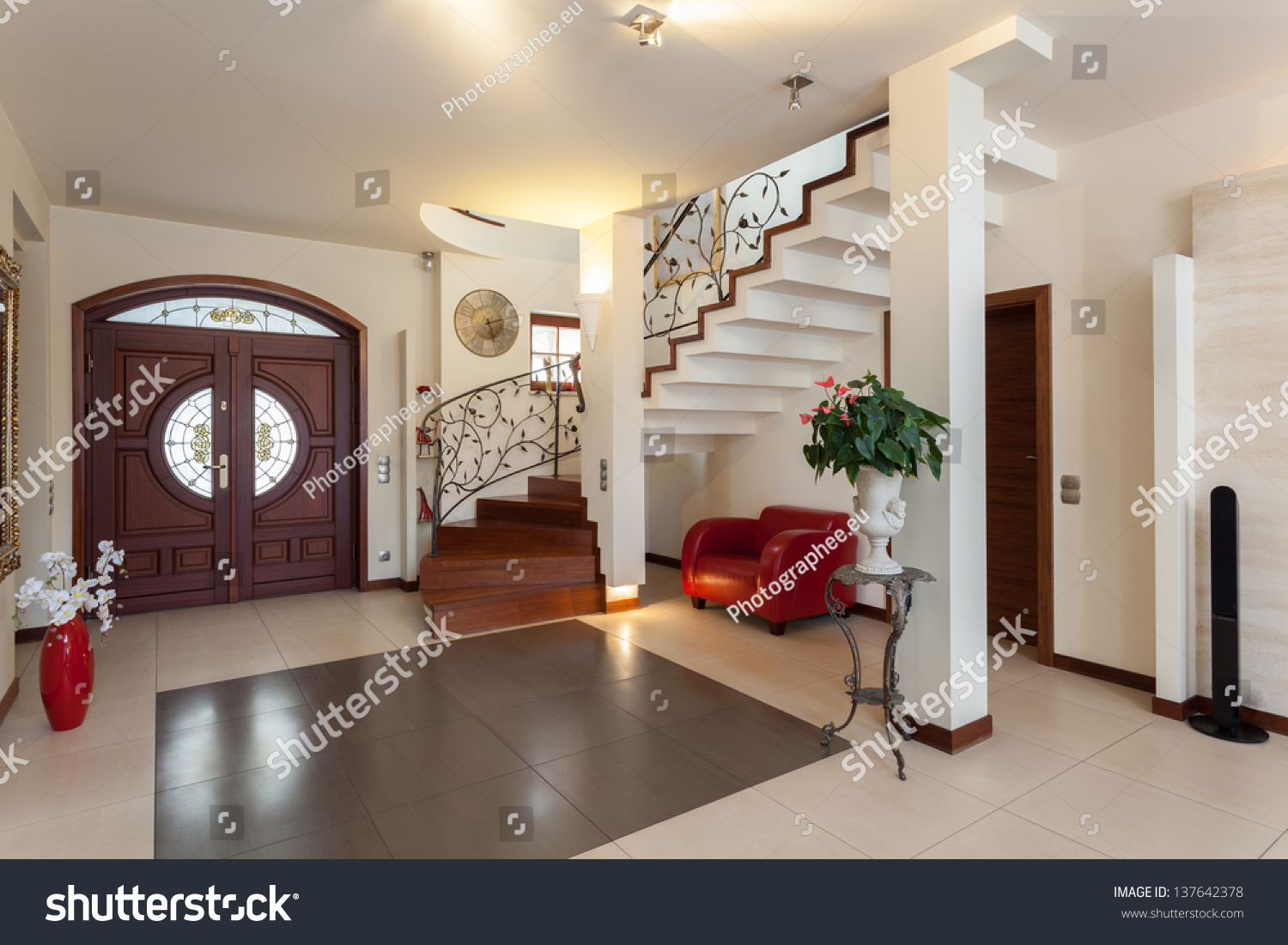 Classy House Entrance Living Room Staircase Stock Photo 137642378