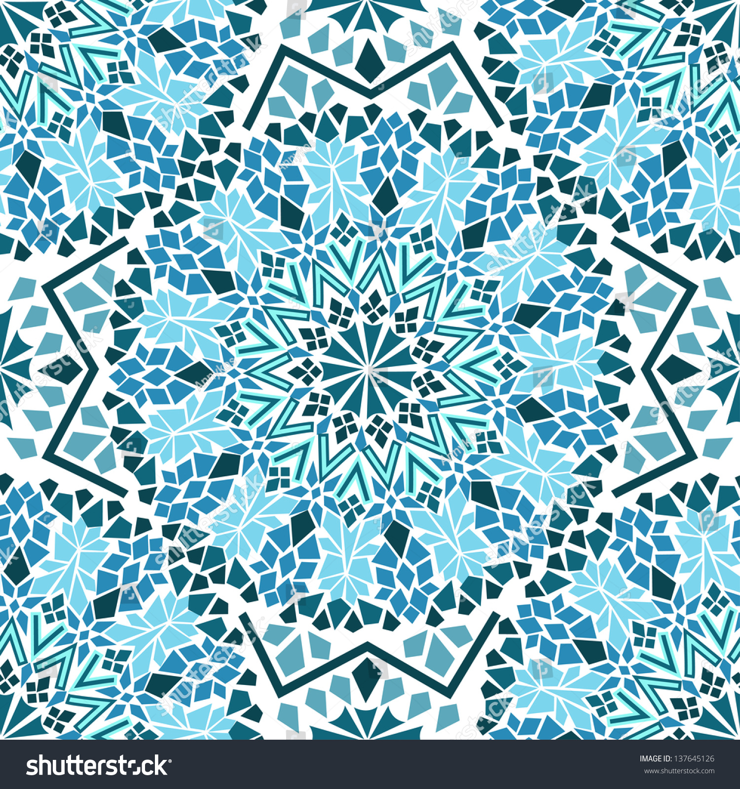 Seamless Pattern Turquoise Moroccan Mosaic Stock Vector