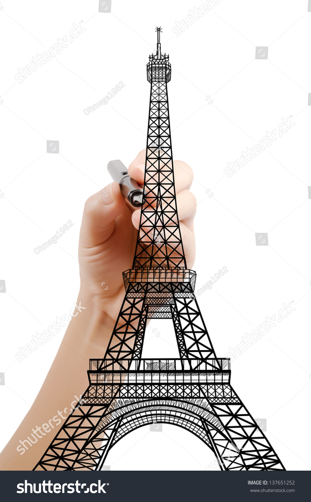 Line Drawing Eiffel Tower : Hand drawing eiffel tower line paris stock illustration