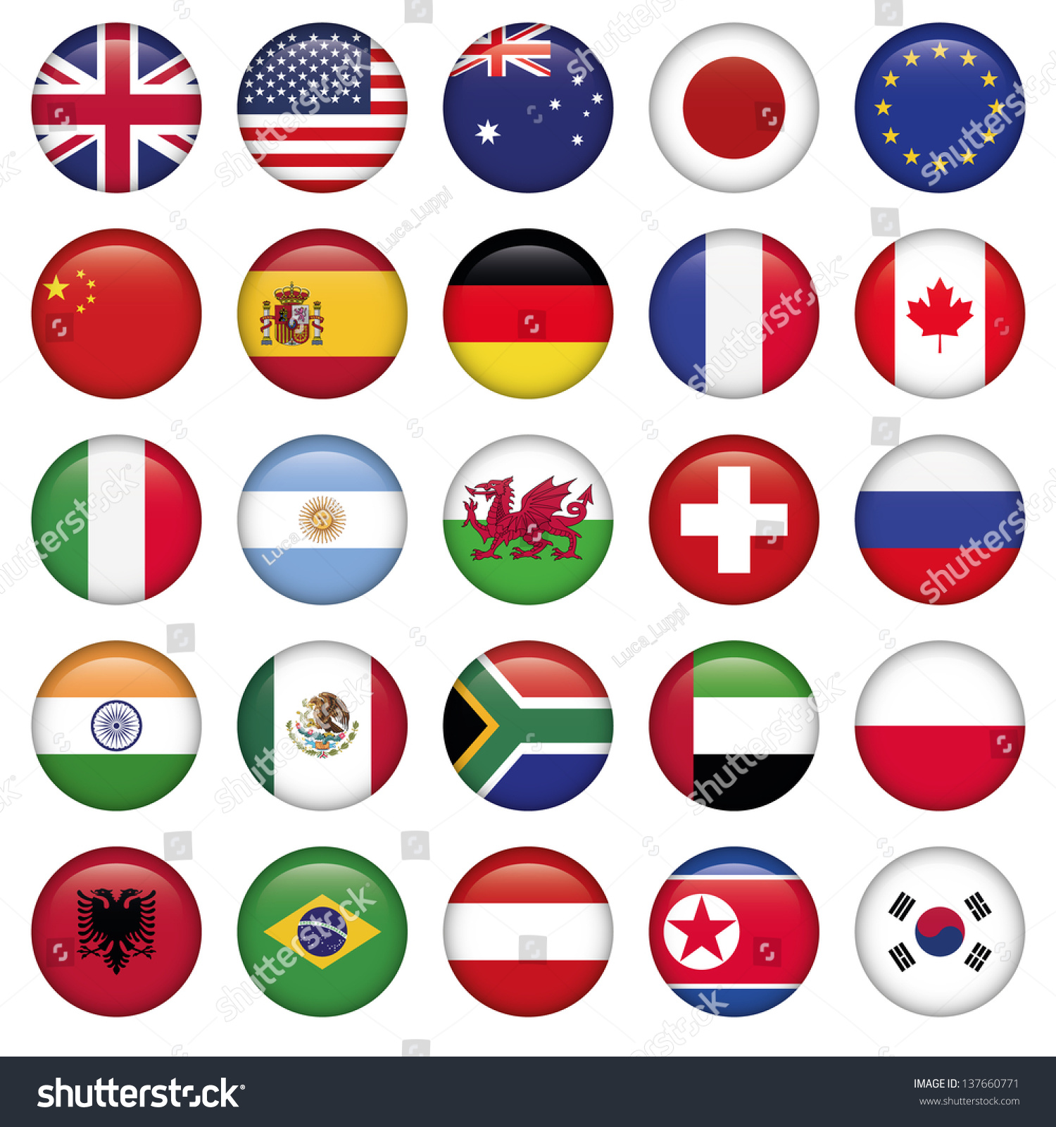 Set of Round Flags world top states #137660771