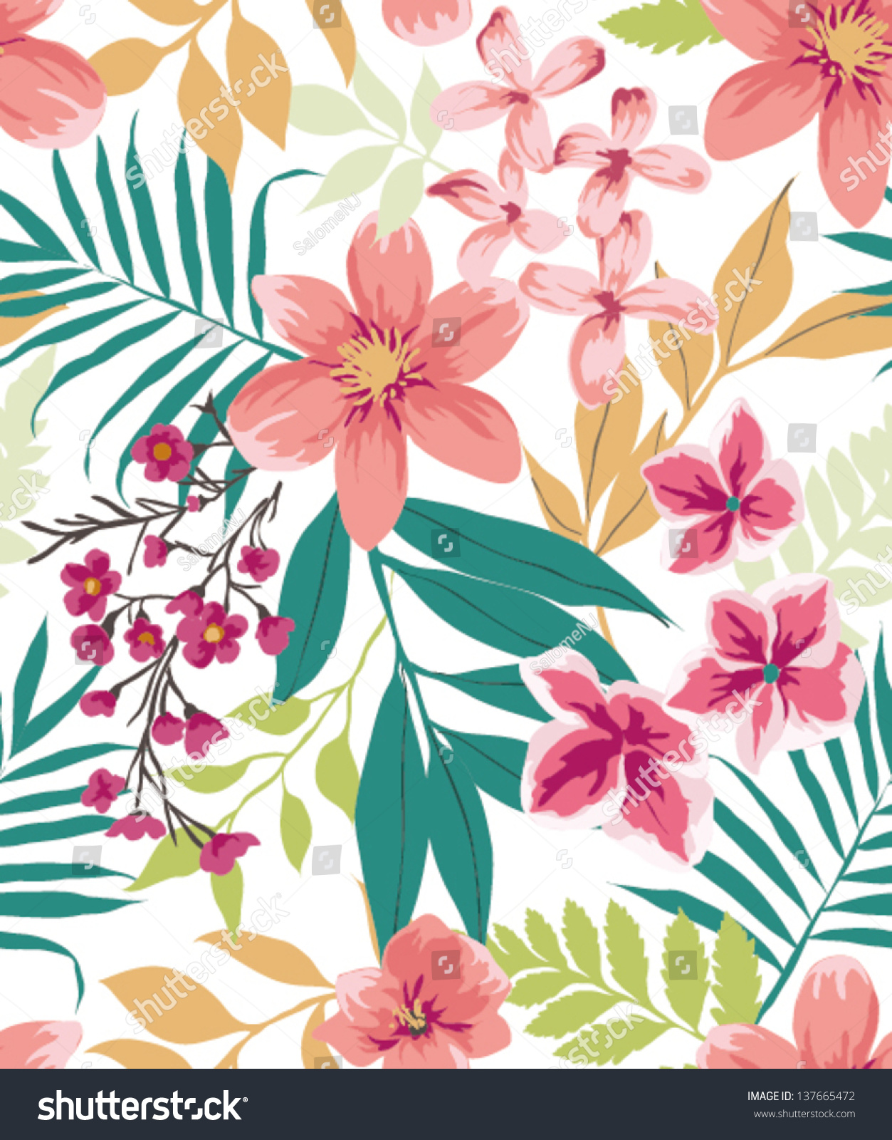 Seamless Tropical Flower Plant Vector Pattern Stock Vector