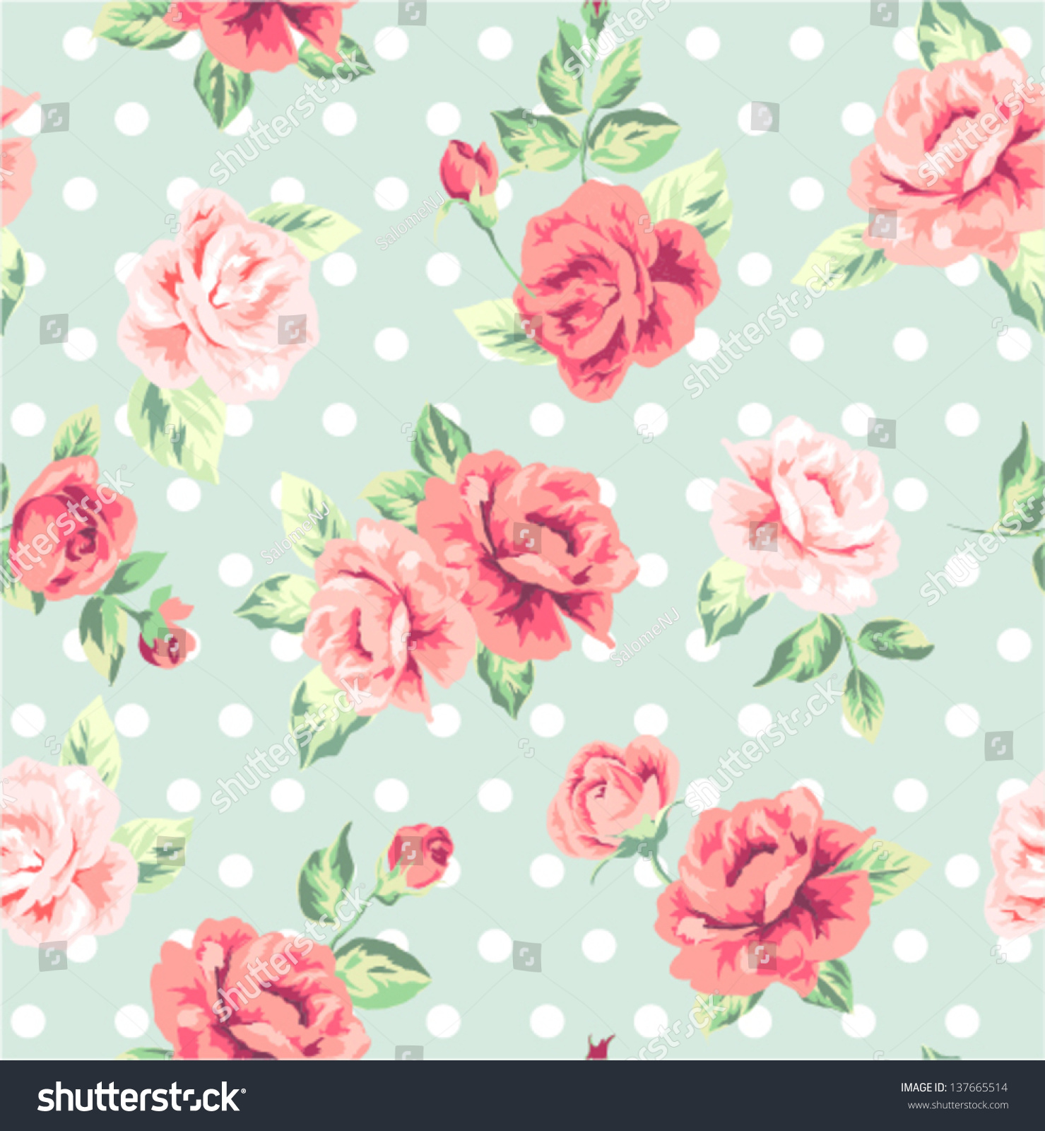 Seamless Romantic Flower Spring Floral Dots Stock Vector