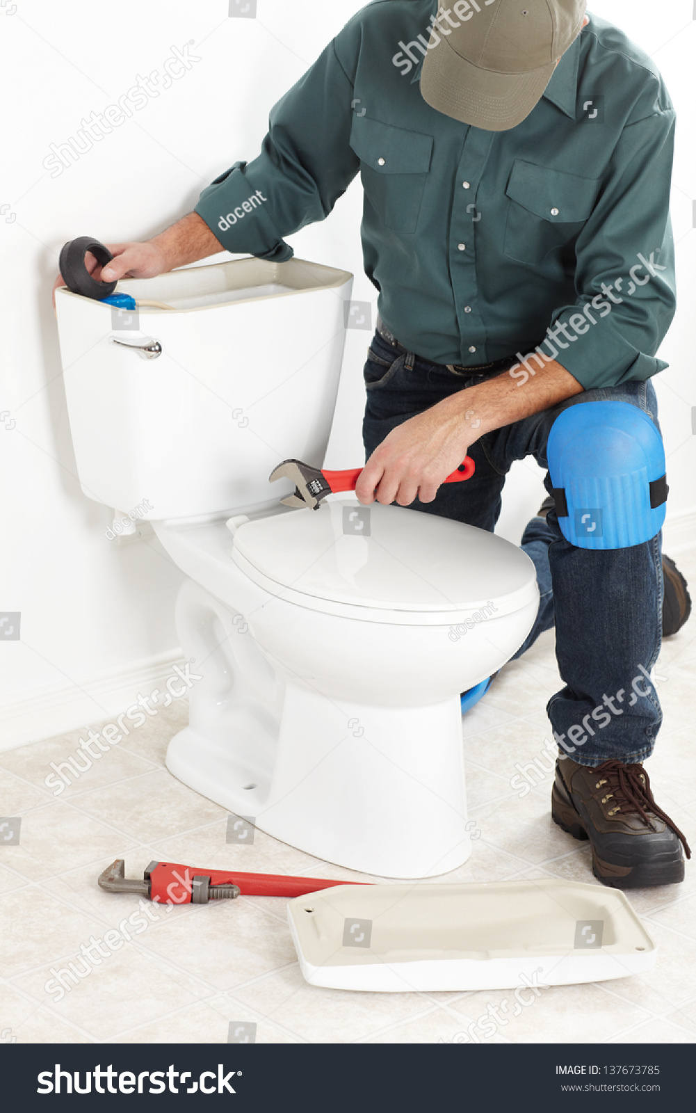 Plumber Toilet Plunger Worker Stock Photo (Safe to Use) 137673785 ...