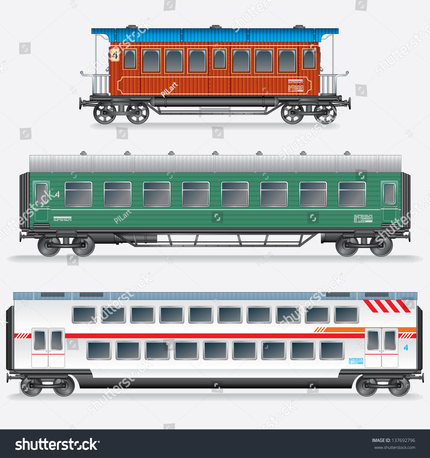 Set Passenger Railway Waggons Obsolete Modern Stock Vector ...