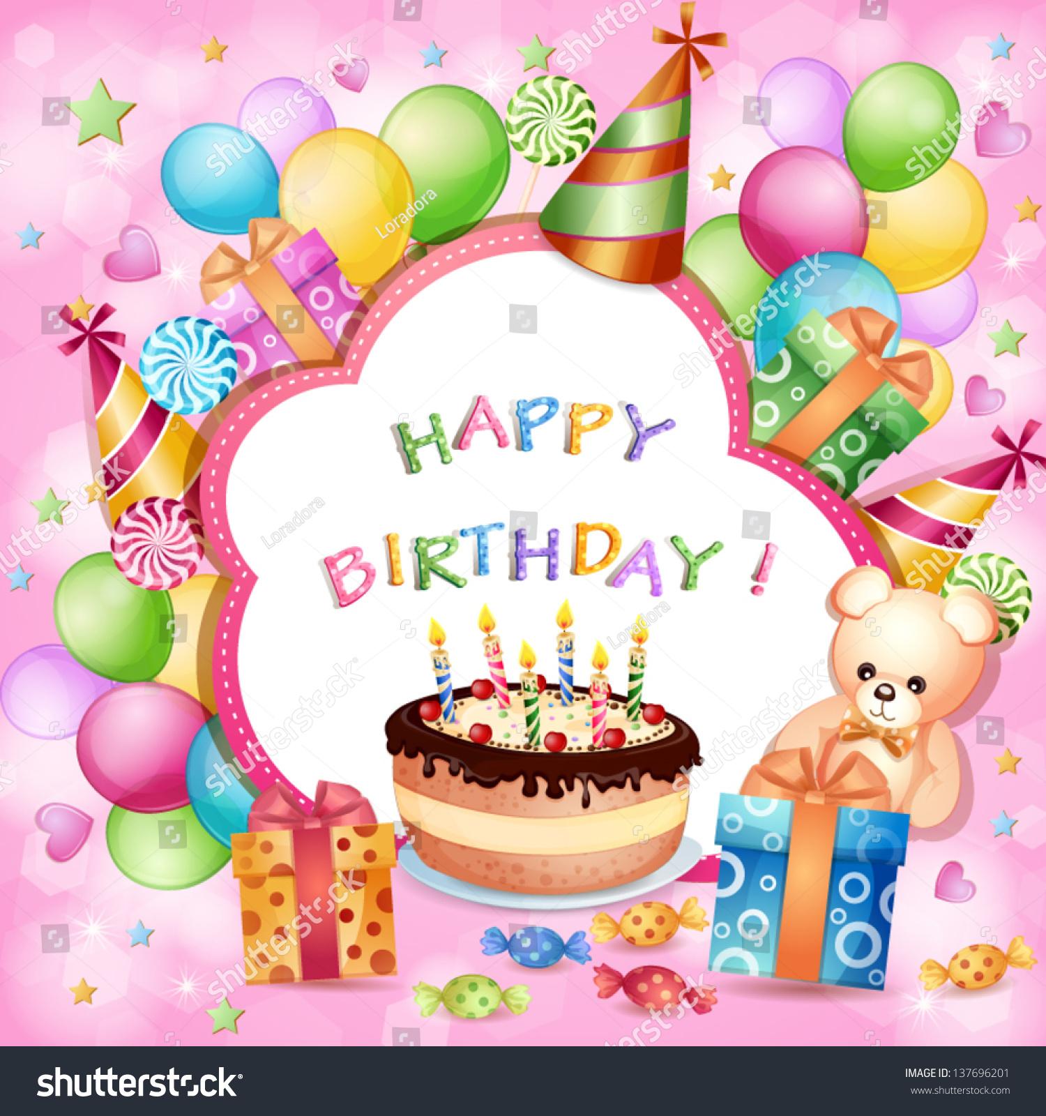 Birthday Card Birthday Cake Balloons Gifts Stock Vector Royalty