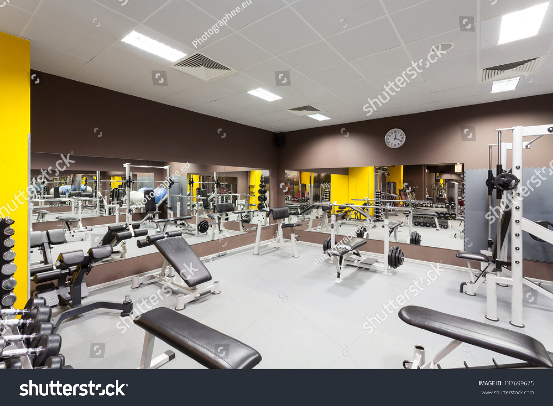 Interior new modern gym equipment stock photo