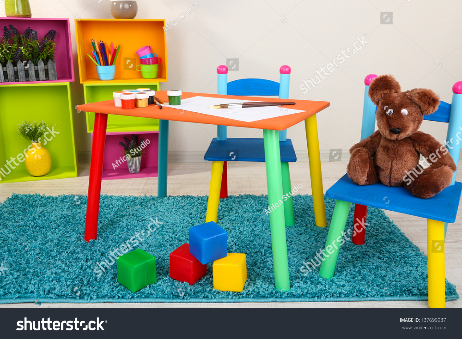 small colorful table chairs little kids stock photo 137699987 shutterstock. Black Bedroom Furniture Sets. Home Design Ideas