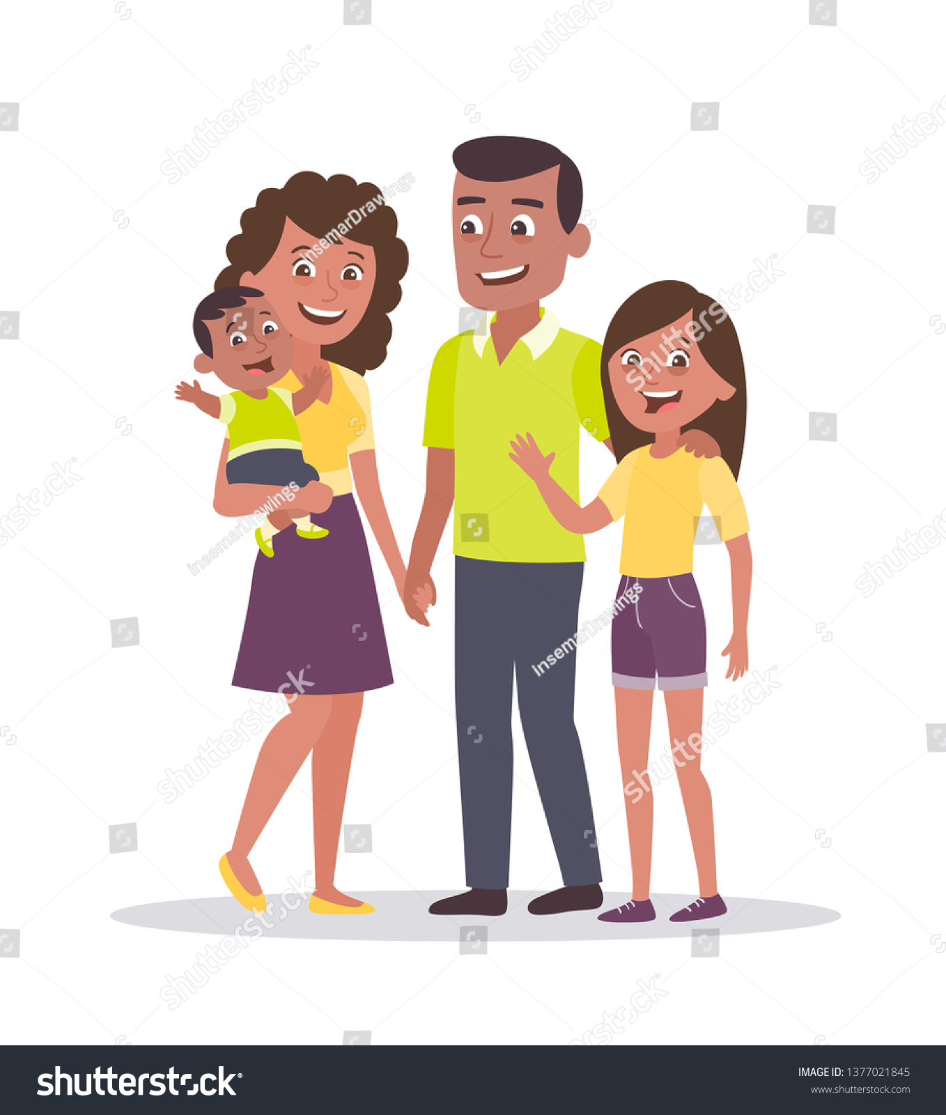 Family Portrait Father Mother Daughter Baby Stock Vector