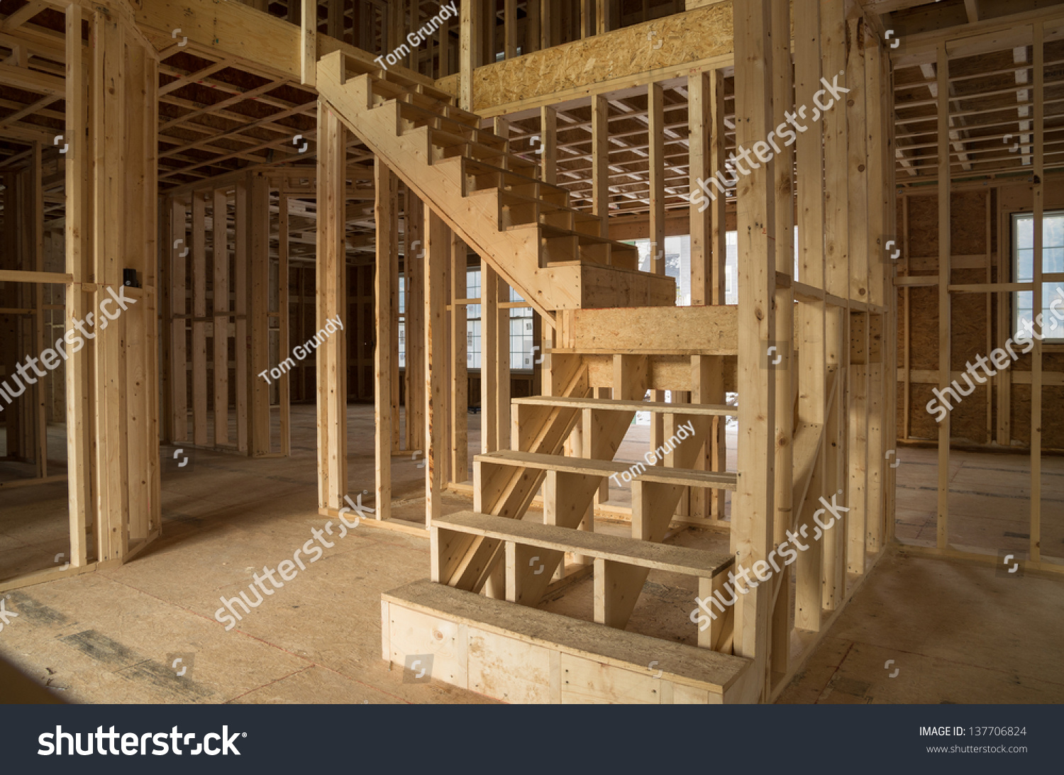 New House Construction Interior Exposed Framing Stock Photo (100 ...