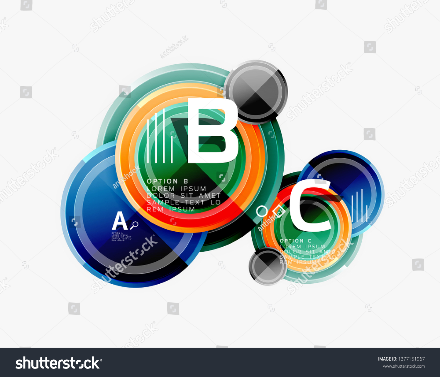 Abstract round geometric shapes, modern circles background. Vector illustration #1377151967