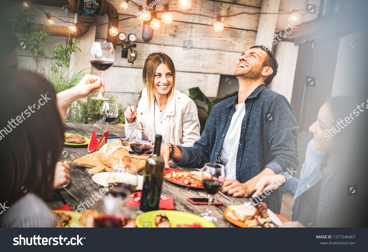 Young friends having fun drinking red wine on balcony at house dinner party - Happy people eating bbq food at fancy alternative restaurant together - Dining lifestyle concept on desaturated filter #1377246467