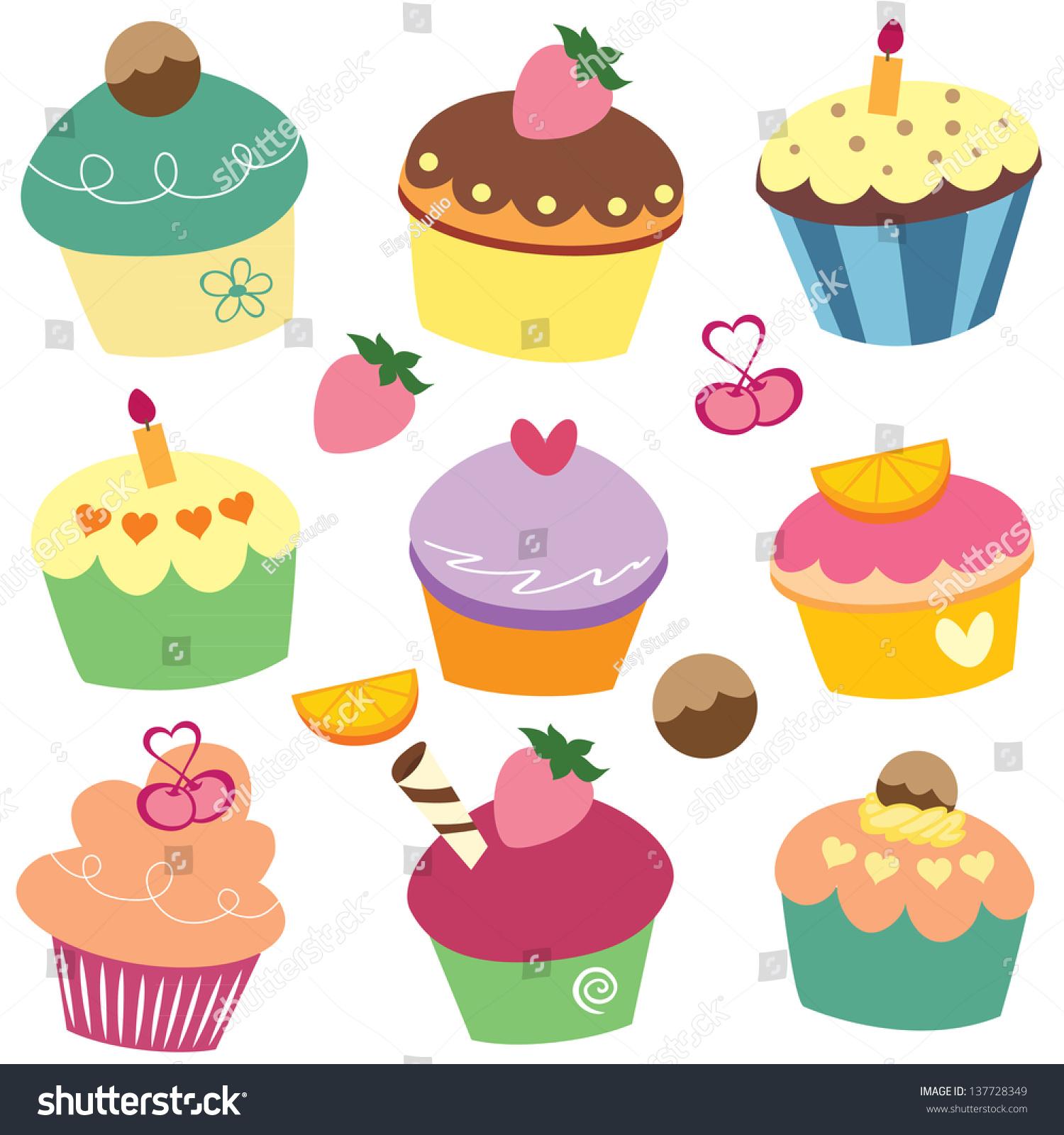 Yummy Cake Clipart : Yummy Cupcakes Clip Art Stock Vector 137728349 - Shutterstock