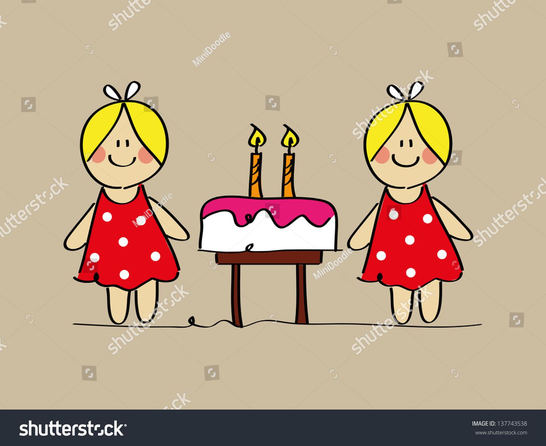 Cute Twin Girls Sketch Birthday Cake Stock Vector
