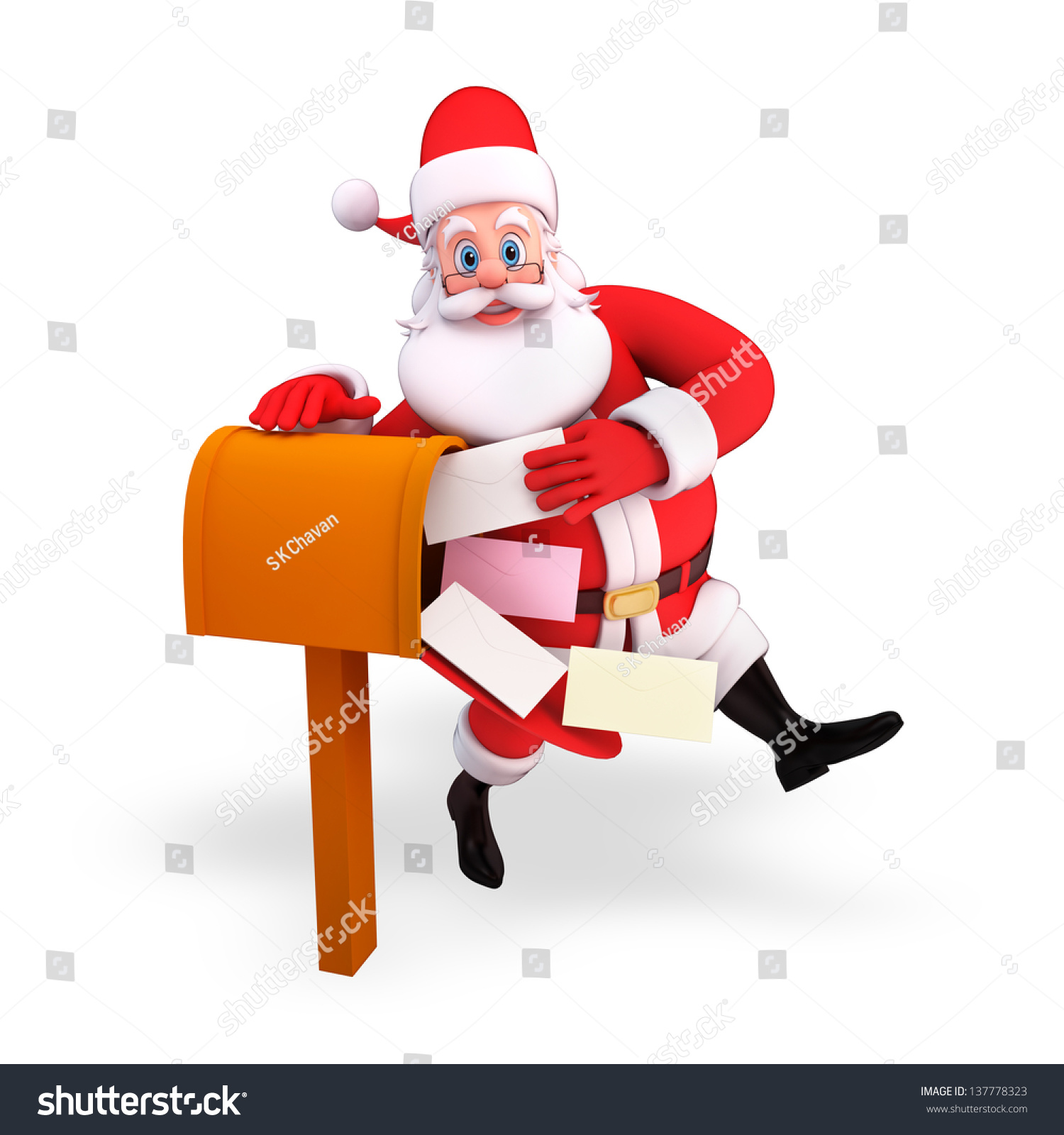Illustration Santa Claus Letter Box Stock Illustration