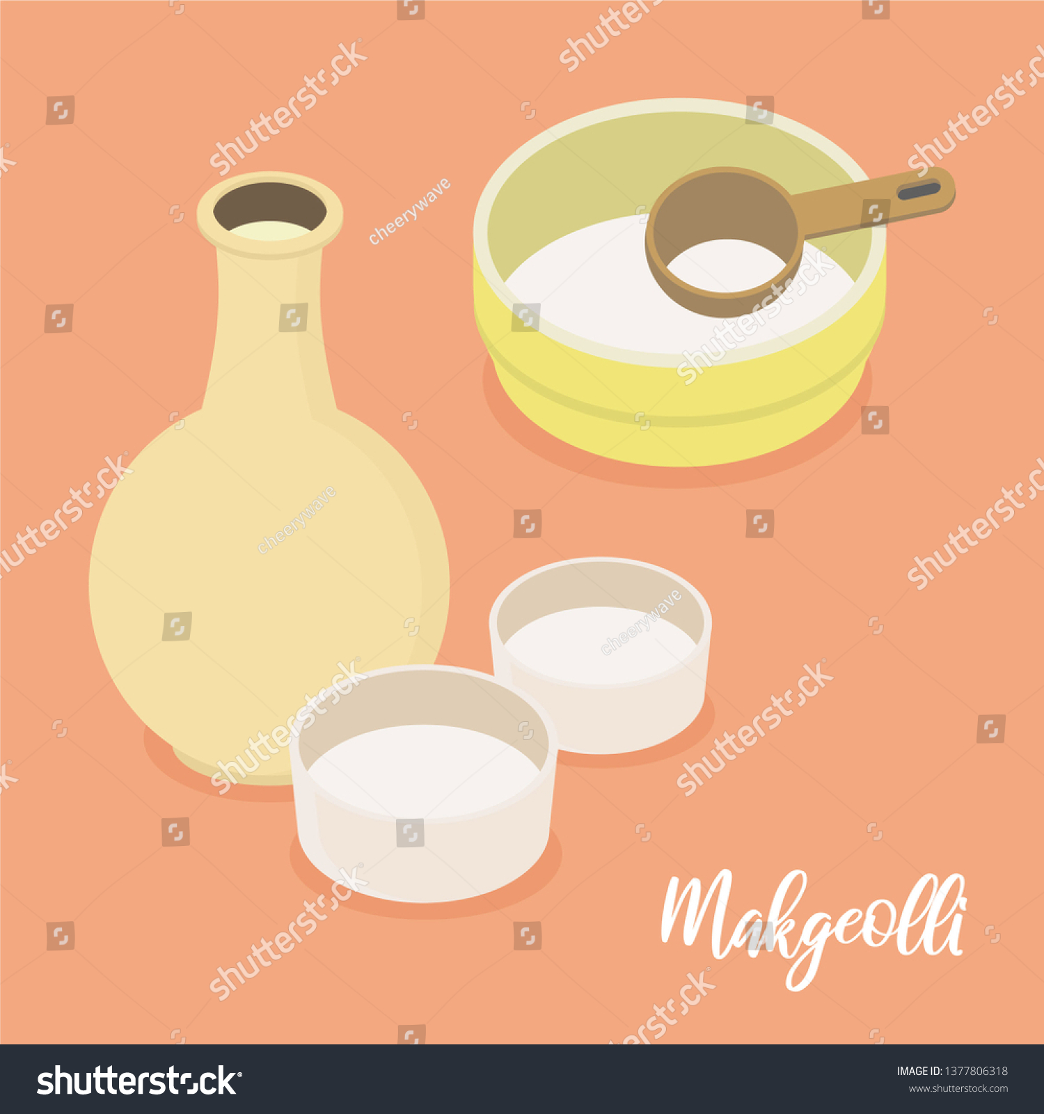 Korean Rice Wine Korean Traditional Drink Stock Vector Royalty Free 1377806318