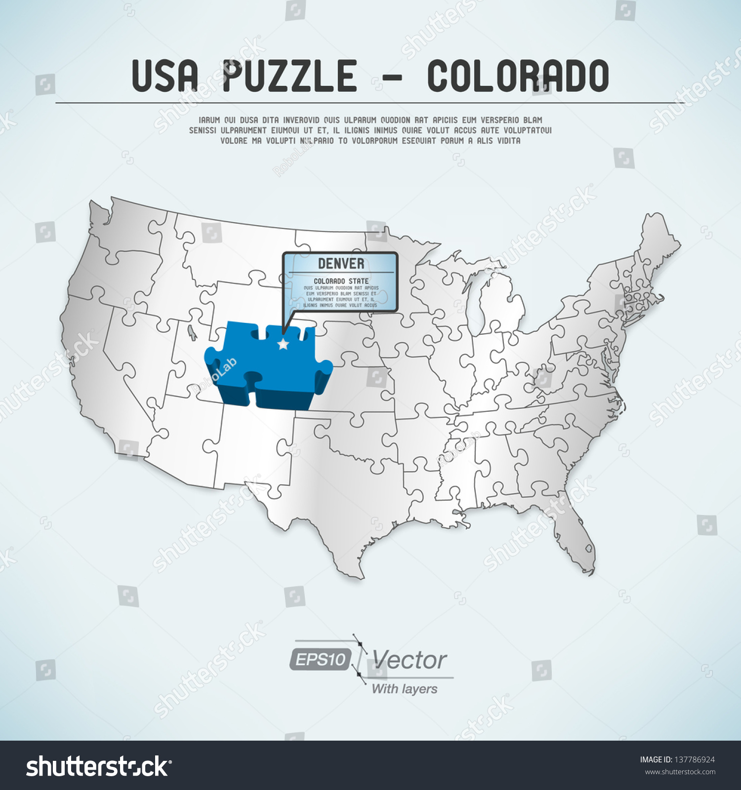 Usa Map Puzzle One Stateone Puzzle Stock Vector 137786924