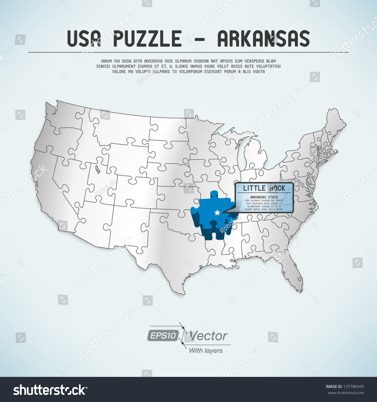 Usa Map Puzzle One Stateone Puzzle Stock Vector - Little rock usa map