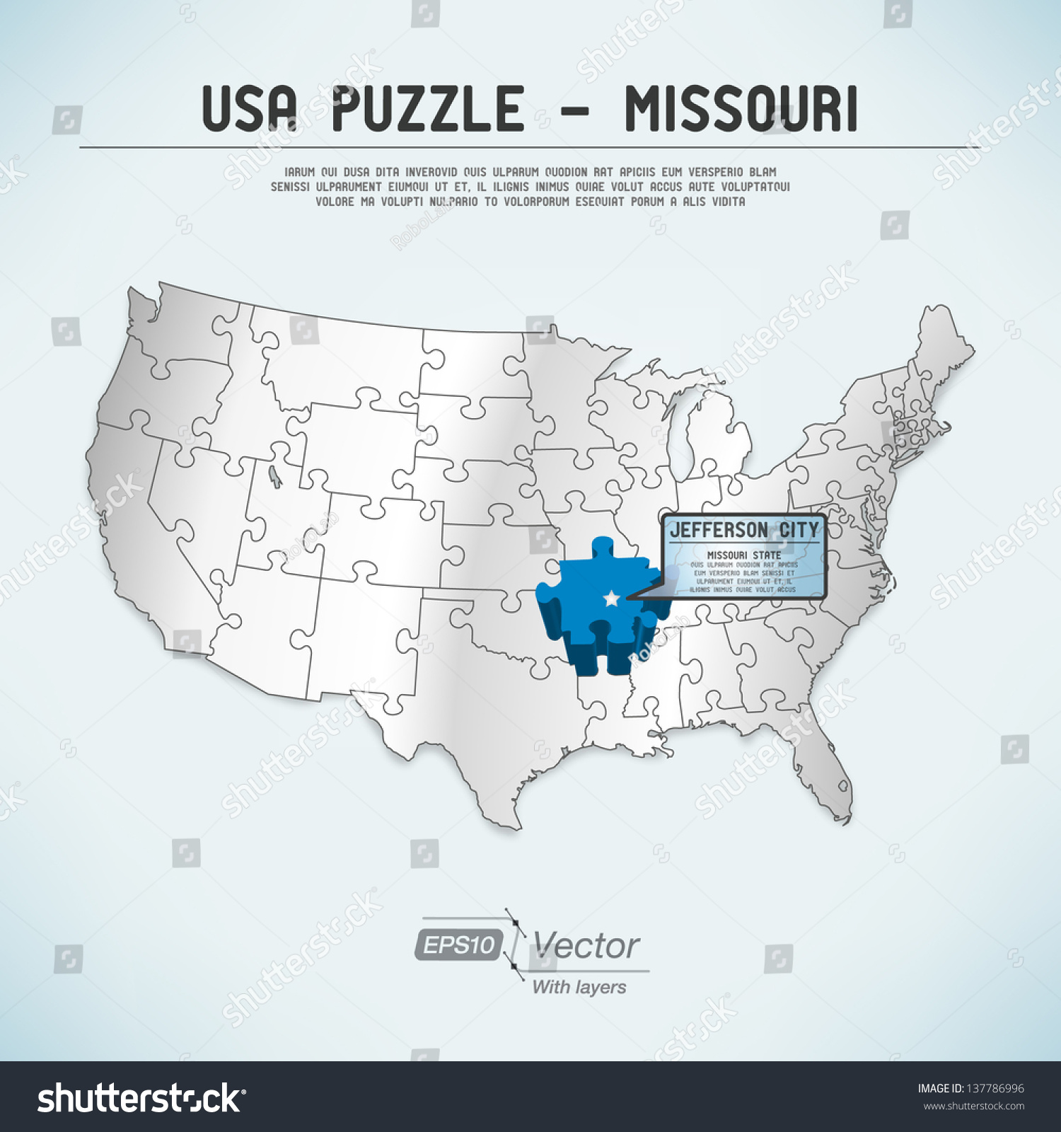 Usa Map Puzzle One Stateone Puzzle Stock Vector - Missouri usa map
