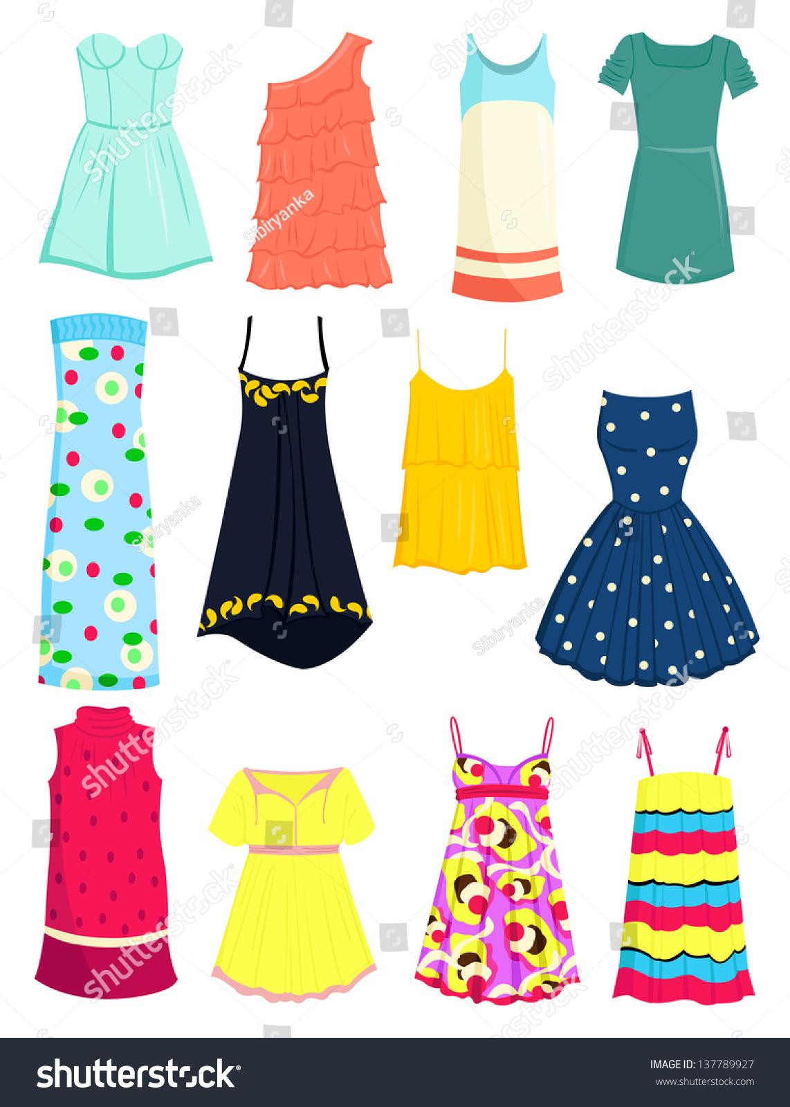 Set Summer Dresses Sundresses Stock Vector 137789927 ...