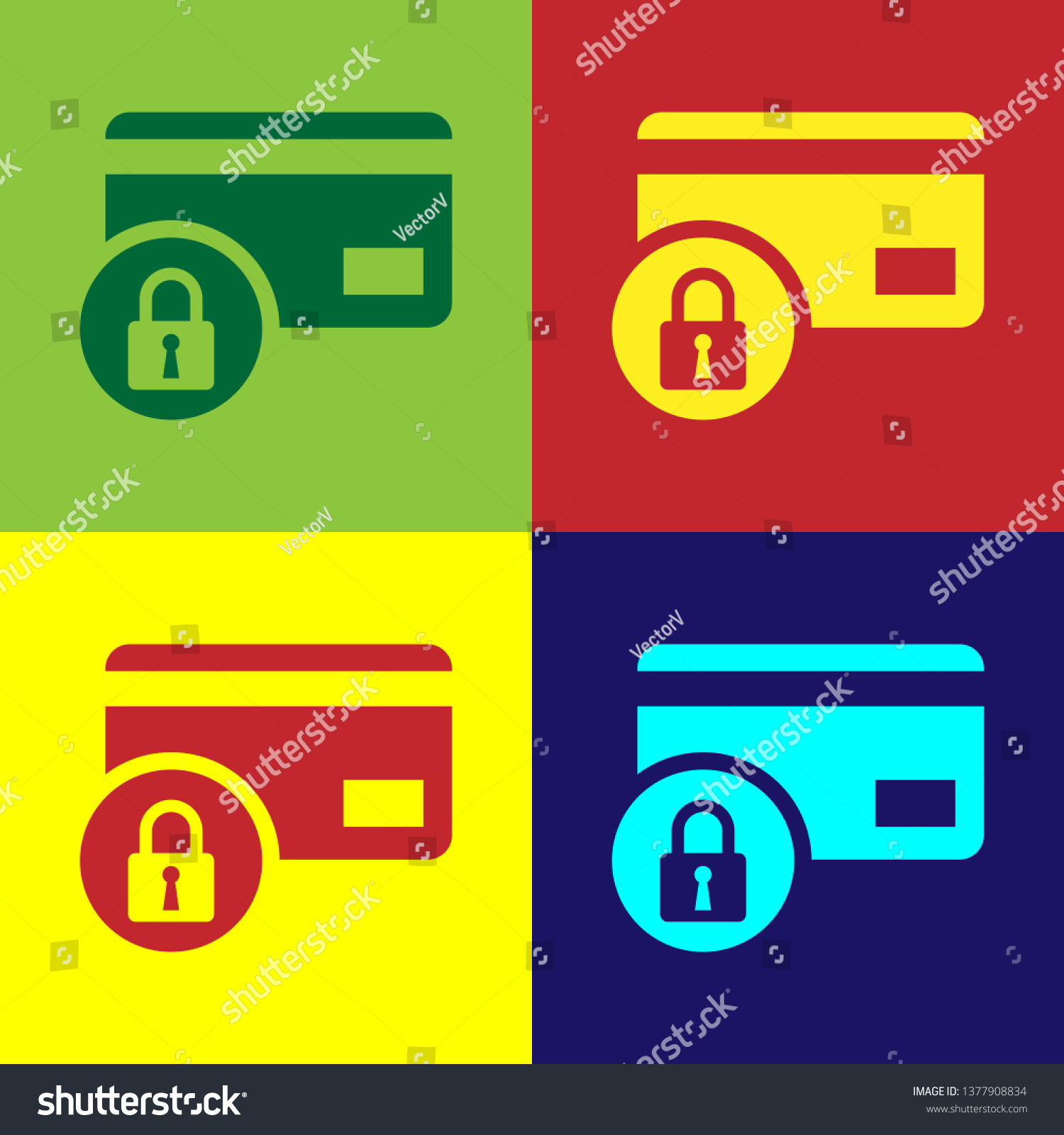 Color Credit Card Lock Icon Isolated Stock Vector (Royalty Free