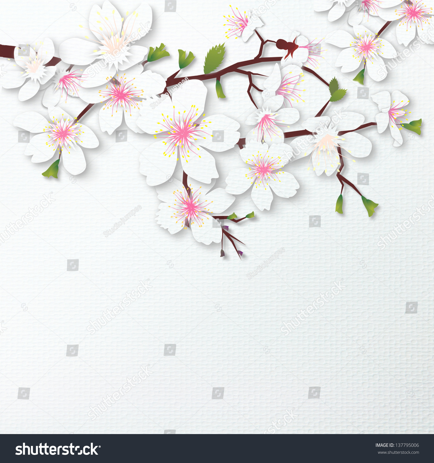Cherry Blossoms Flower Paper Craft Against Stock Illustration
