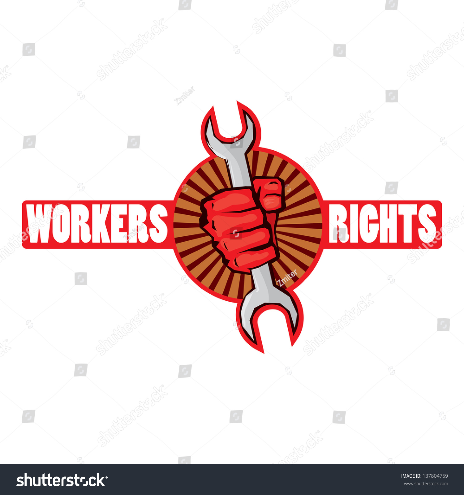 Vector Red Fist Holding Wrench Workers Stock Vector Royalty Free
