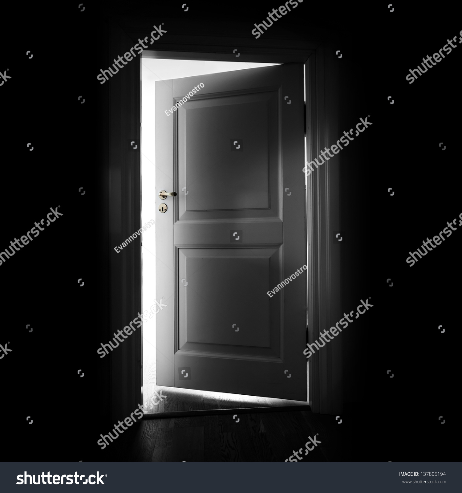 Opening White Door In A Dark Room With Light Outside Stock ...
