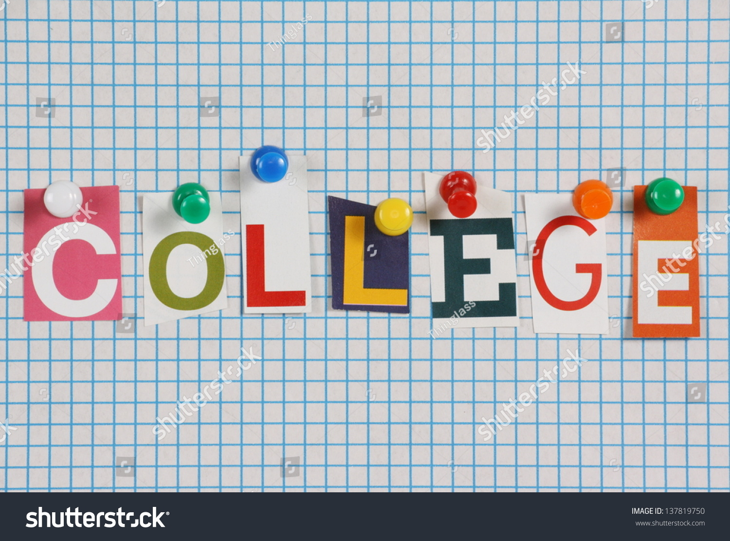 word college cut out magazine letters stock photo edit now