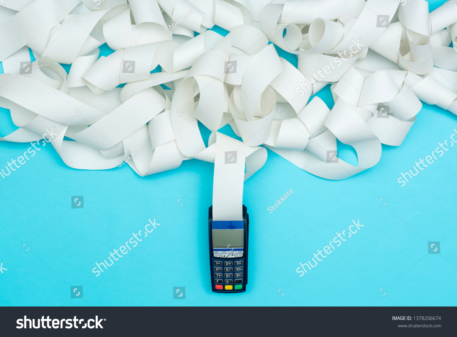 POS terminal with very long receipt, expensive shopping concept #1378206674