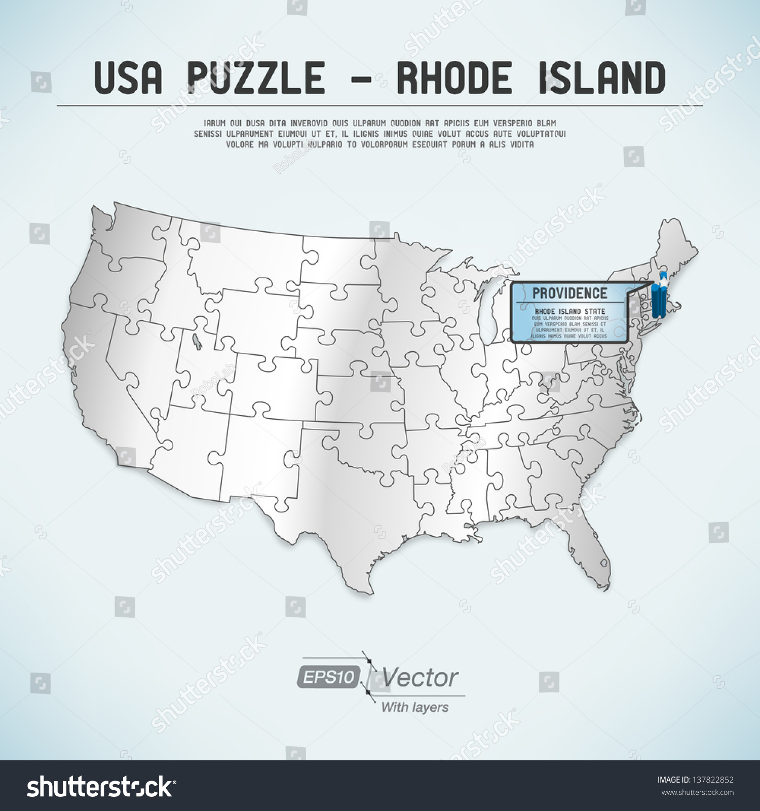 Usa Map Puzzle One Stateone Puzzle Stock Vector 137822852