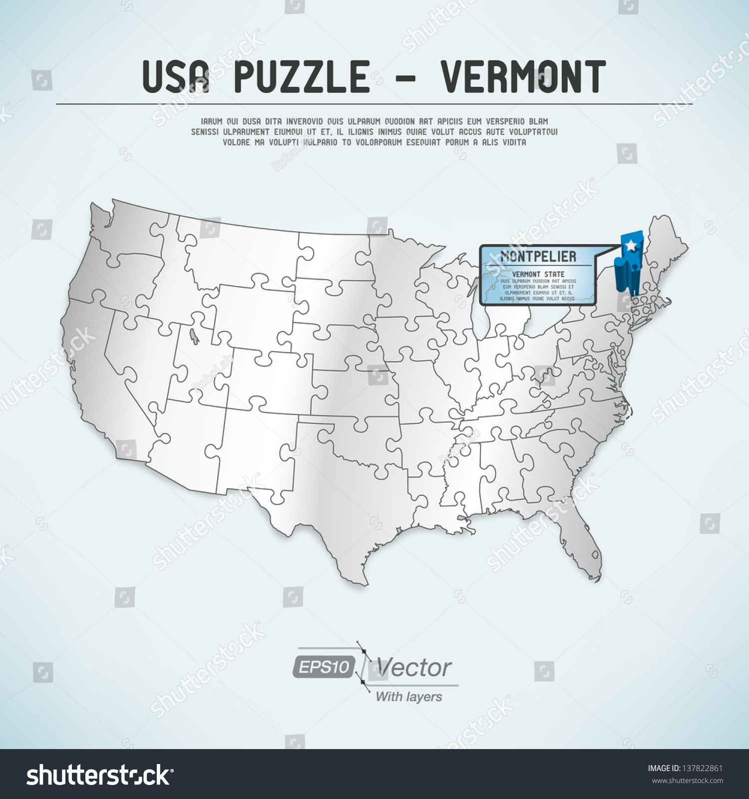 Vermont Map Usa Free Floor Plan Program - Owl and mouse us map puzzle