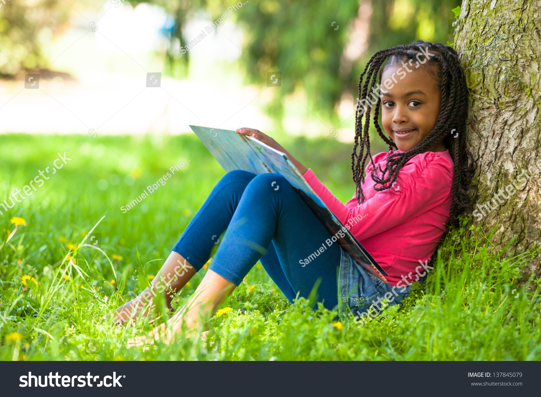 Outdoor Portrait Cute Young Black Little Stock Photo -6949
