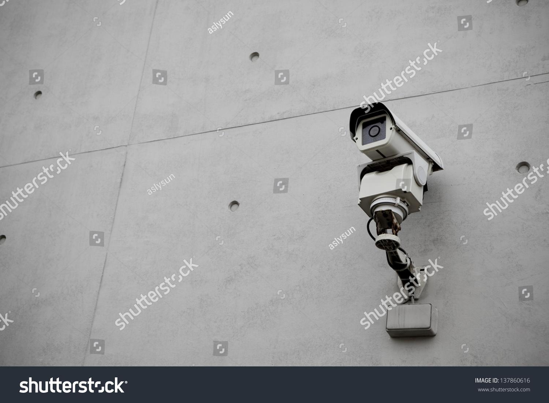 Rock Camera Surveillance : Surveillance security camera grunge concrete cement stock photo