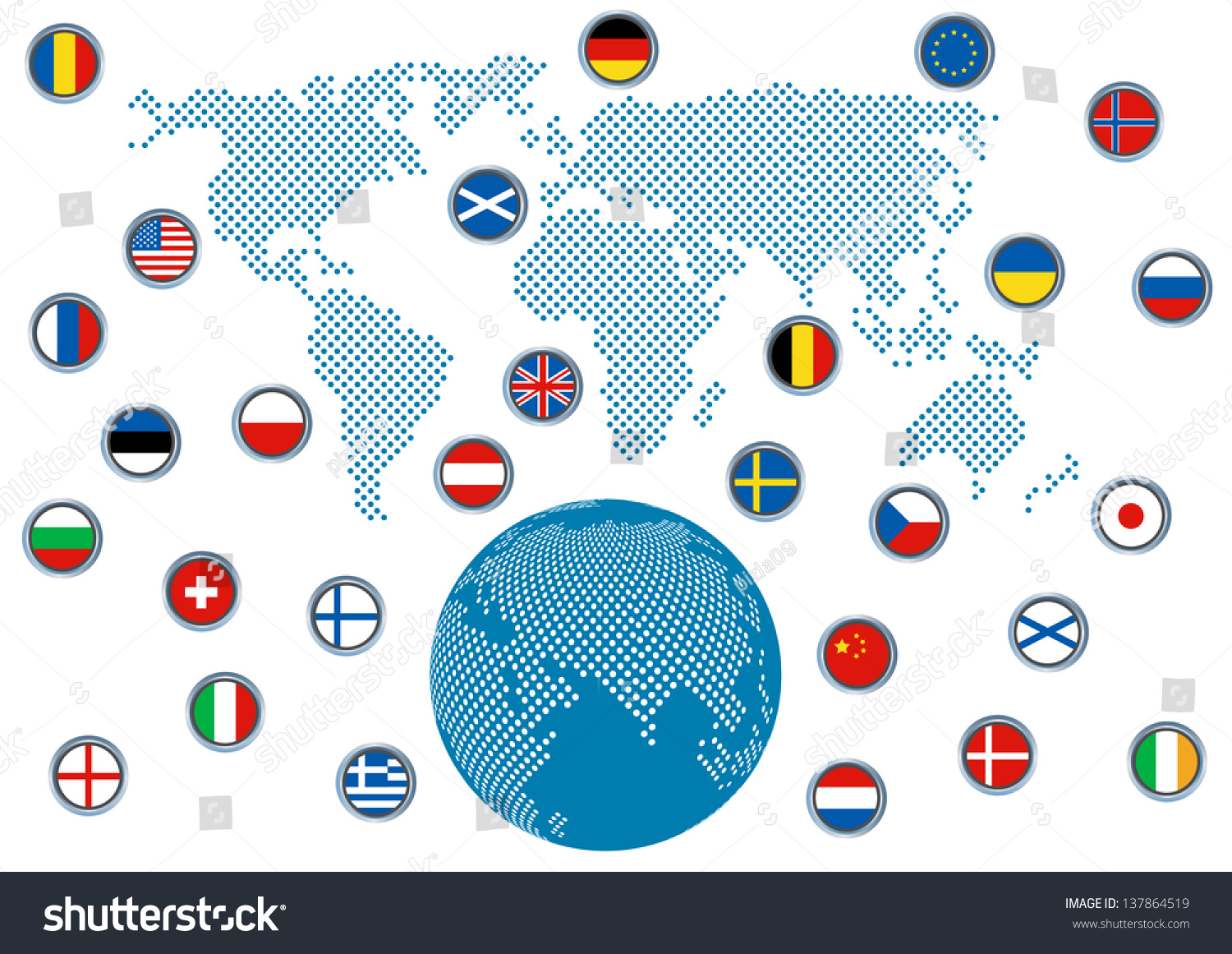 Flag Of Different Countries With World Map Save To A Lightbox