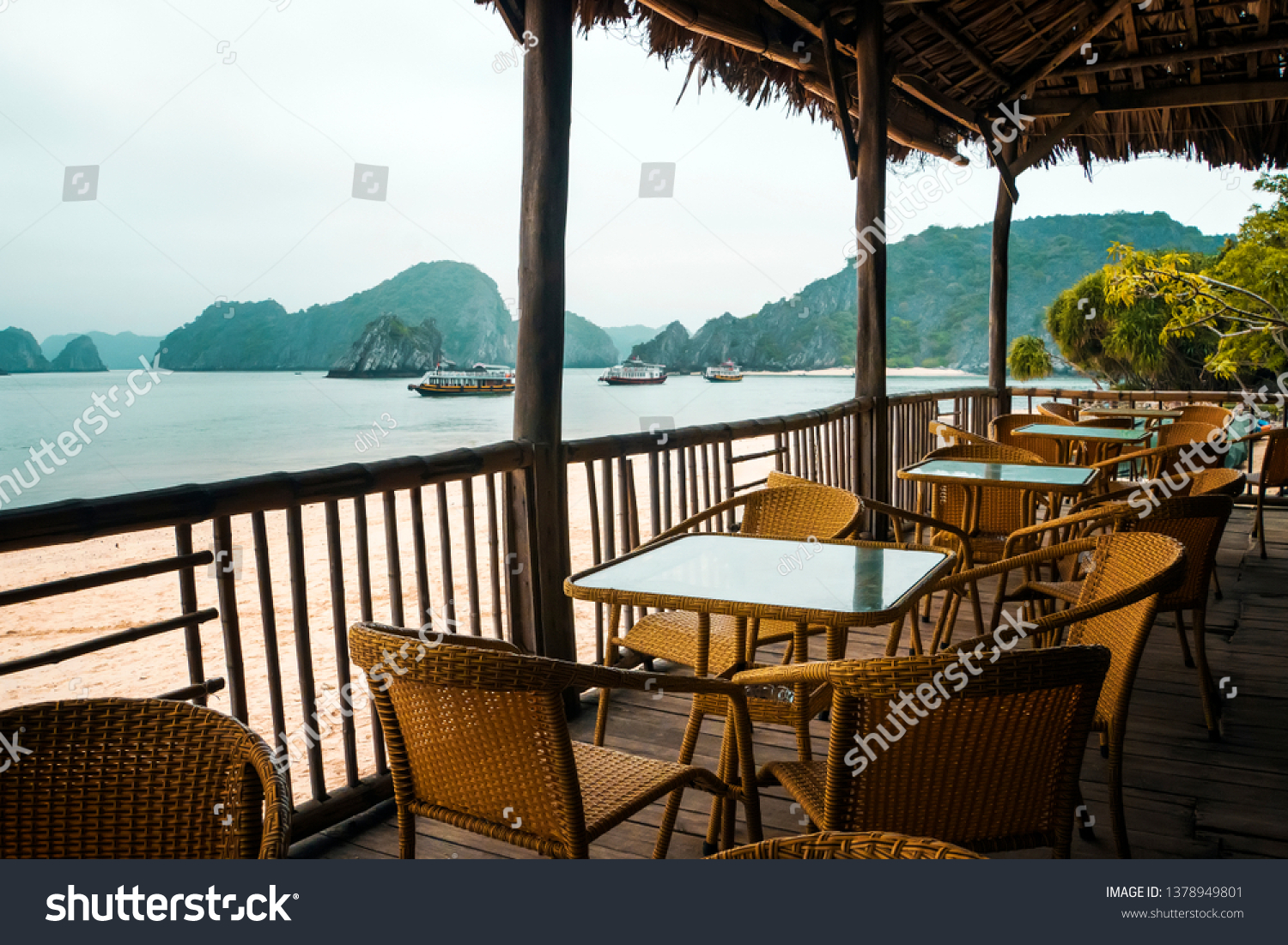 Table Chairs Cafe Under Canopy On Stock Photo (Edit Now