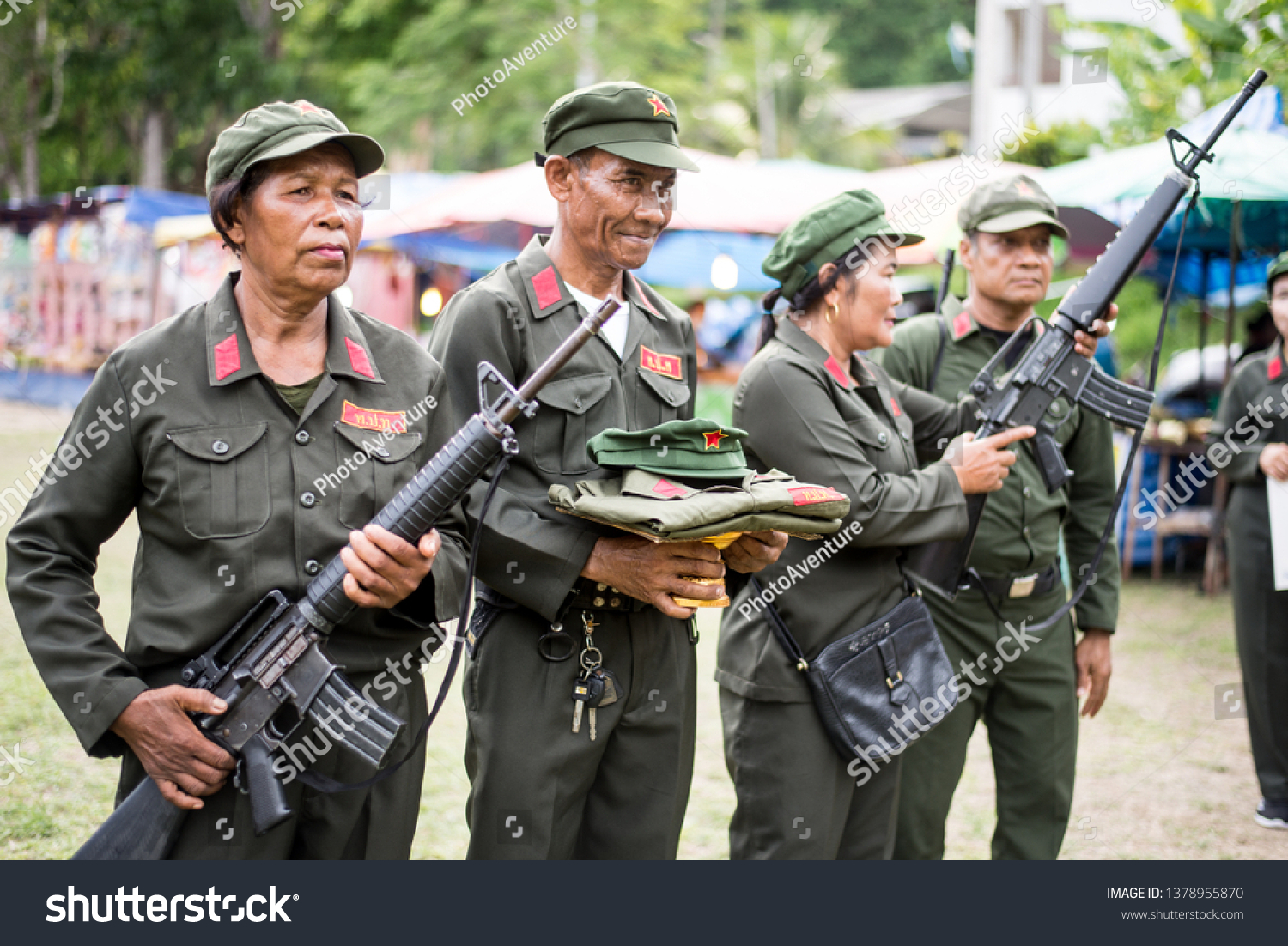 Communist Party of Thailand Organized activities to commemorate those who died in battle In the event, there were flowers and parades.  April 20, 2019, Ban Na San District, Surat Thani Province #1378955870