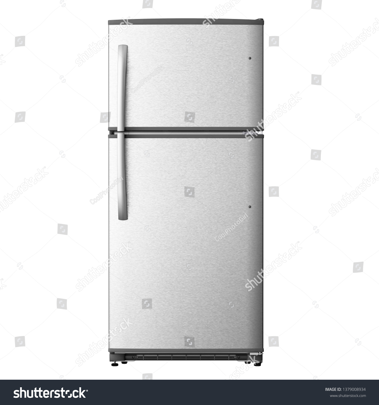 Top Mount Refrigerator Isolated on White. Front View of Stainless Steel Double Door Fridge. Full Frost Free Freezer. Modern Kitchen and Domestic Major Appliances #1379008934