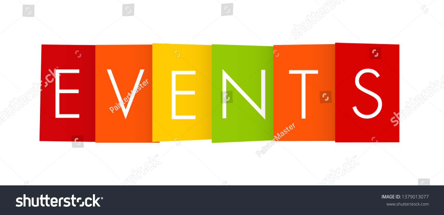 Color Events Letters Banner On White Stock Vector Royalty Free 1379013077