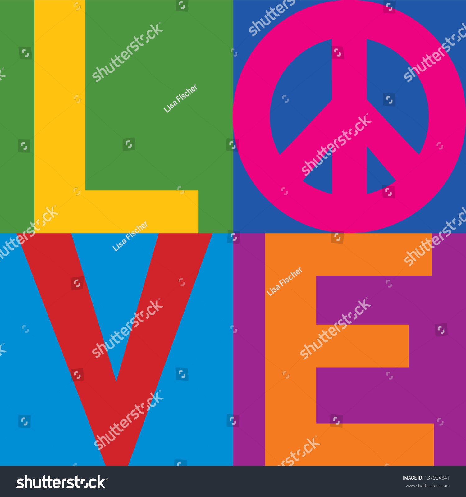 word love pace symbol stacked colorblock stock vector. Black Bedroom Furniture Sets. Home Design Ideas