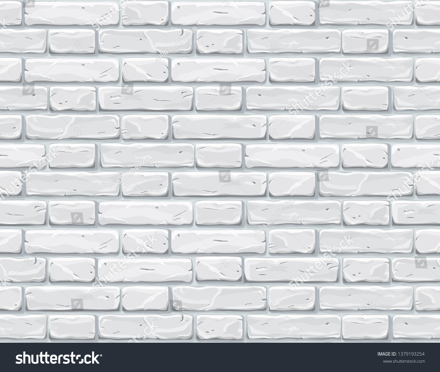 Cartoon white brick wall texture vector illustration