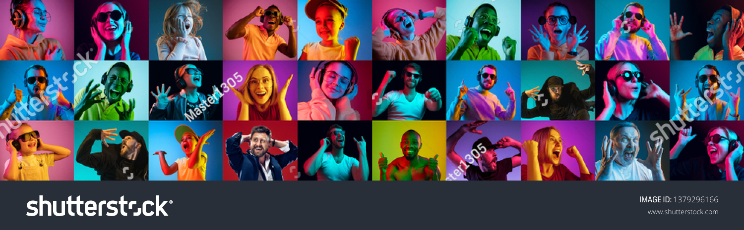 The collage of faces of surprised people on colored backgrounds. Happy men and women smiling. Human emotions, facial expression concept. Different human facial expressions, emotions, feelings #1379296166