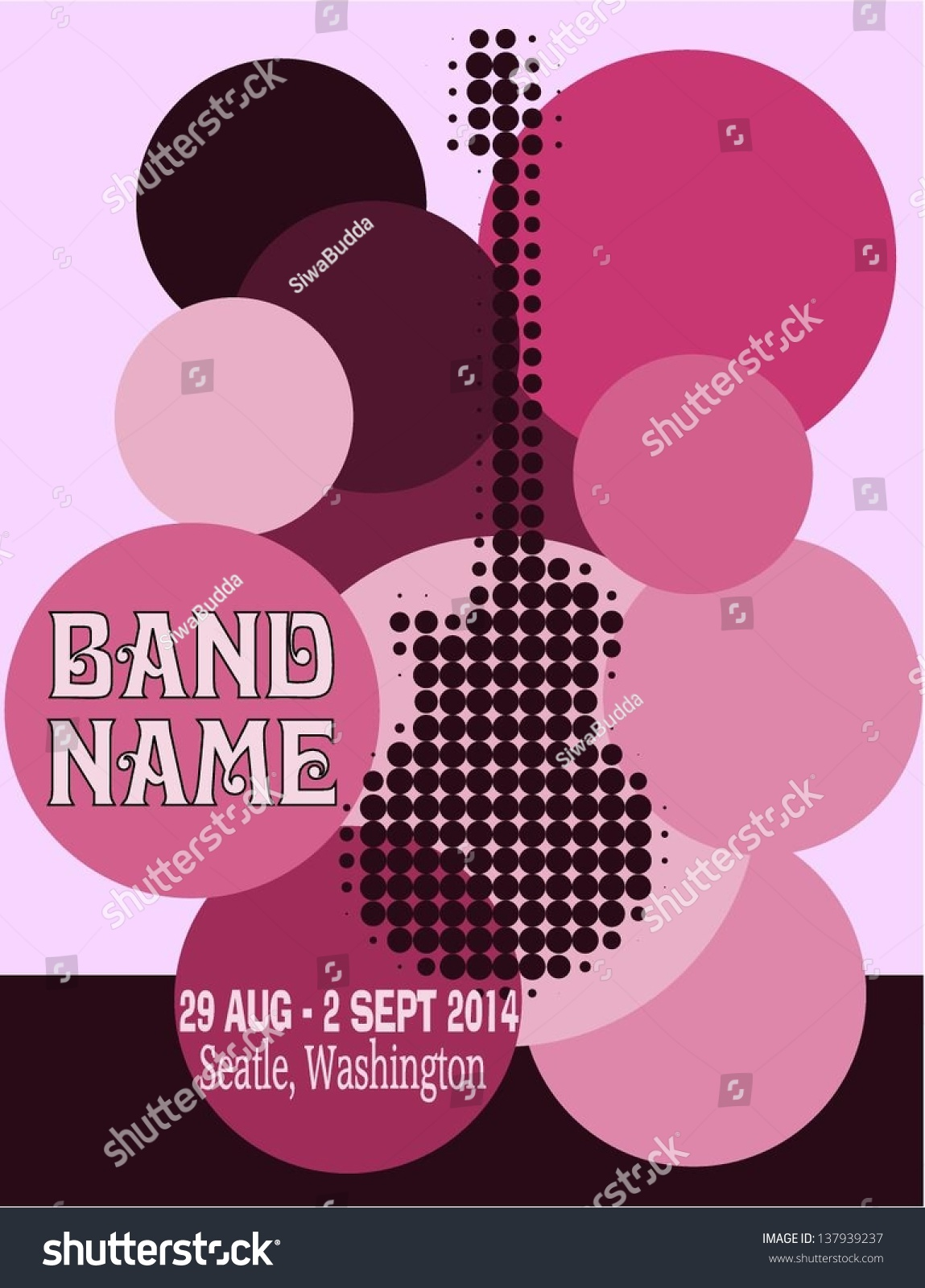 Vector Festival Poster Template With Guitar - 137939237 : Shutterstock