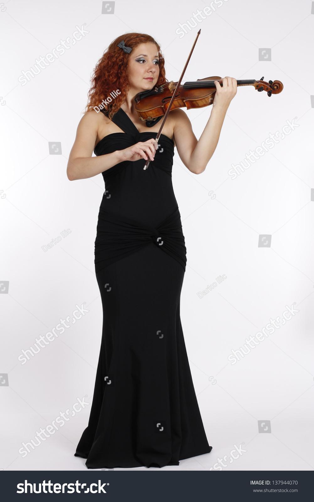 Girl in a long black dress
