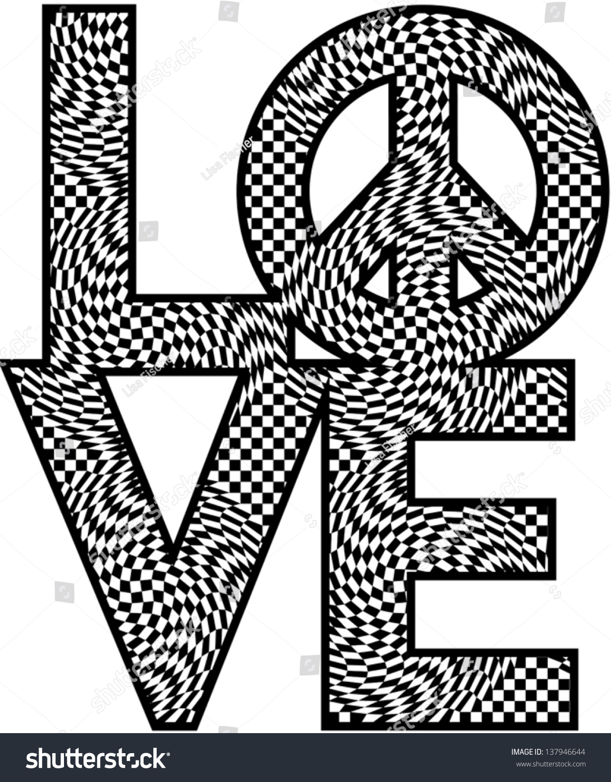 Word Love Peace Symbol Black White Stock Vector Royalty Free
