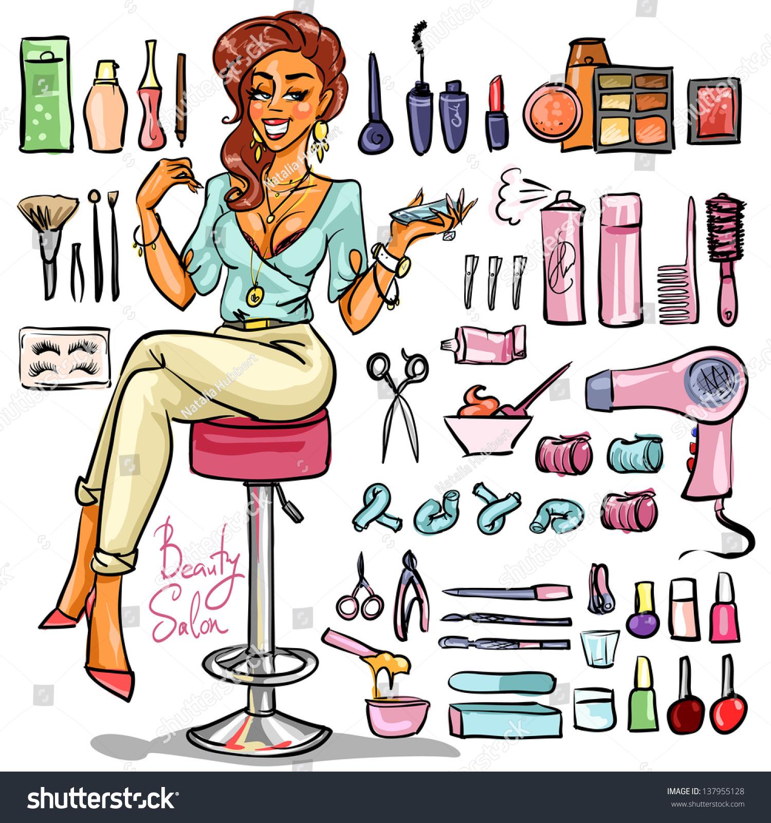 beauty salon cartoon sexy woman beauty stock vector 137955128