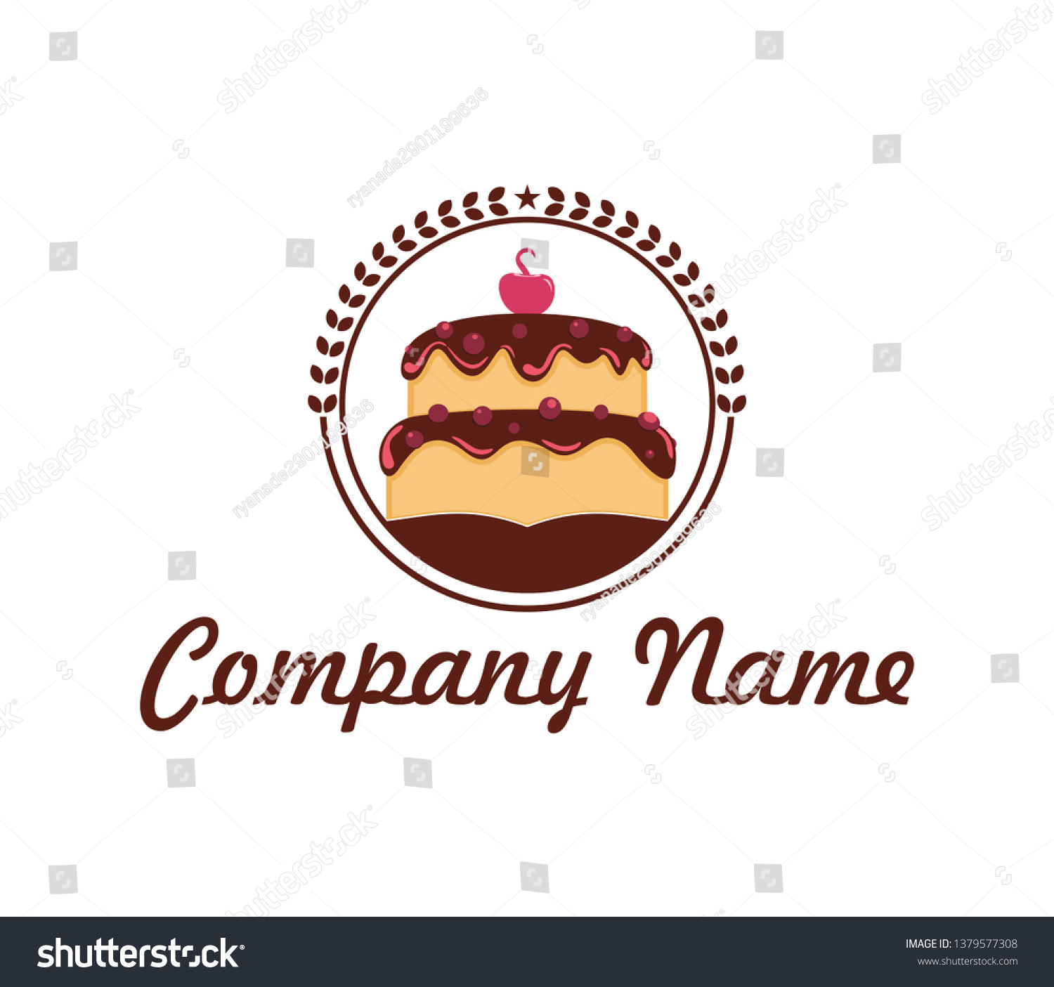Cake Logo Template Design Vector Design Stock Vector Royalty Free 1379577308