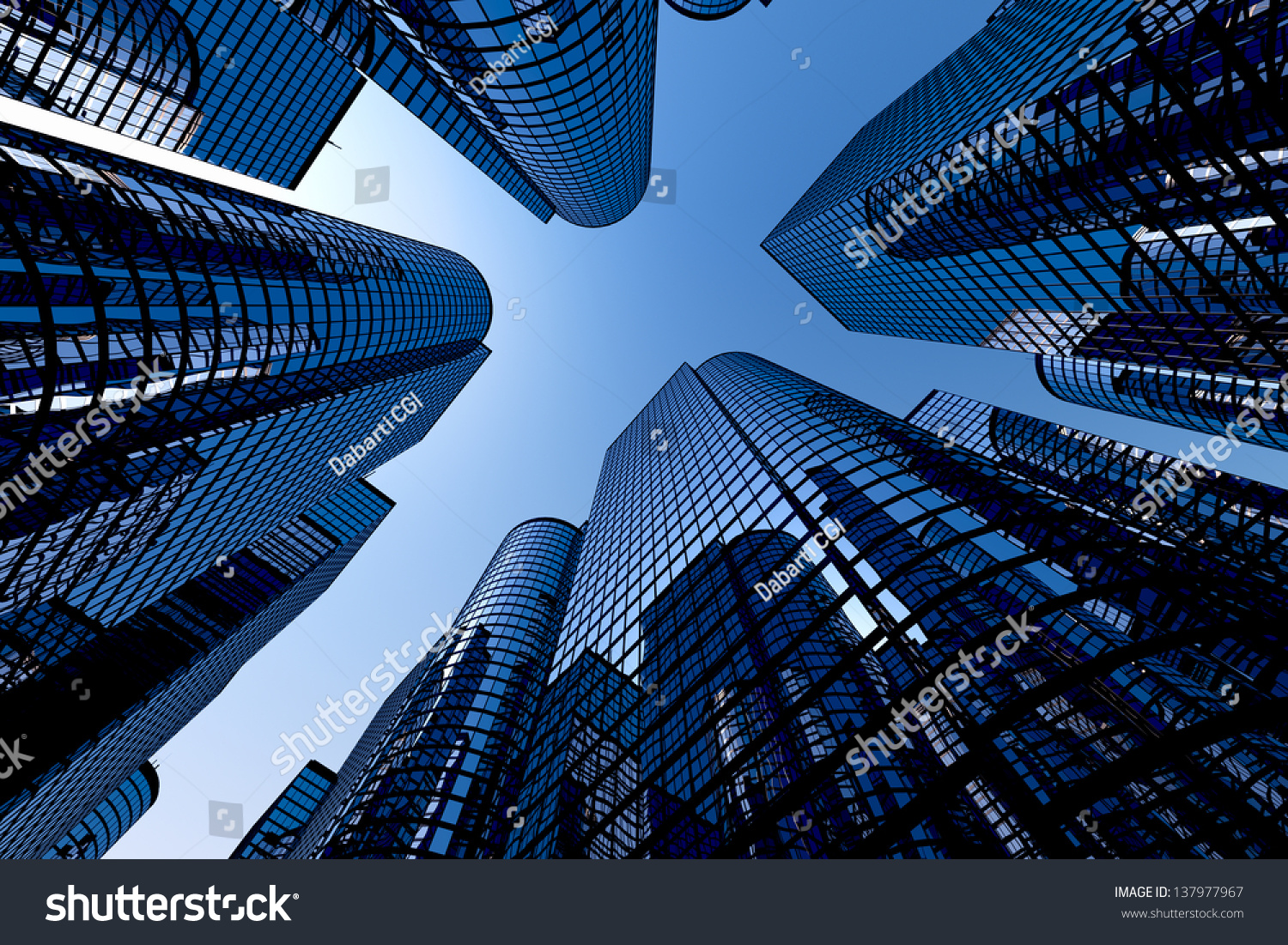 Low Angle View To Light Glass Buildings Of Business Center: Low Angle Shot Modern Glass City Stock Photo 137977967